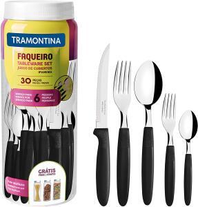 FAQUEIRO INOX 30PC IPANEMA PRETO Tramontina | R$43