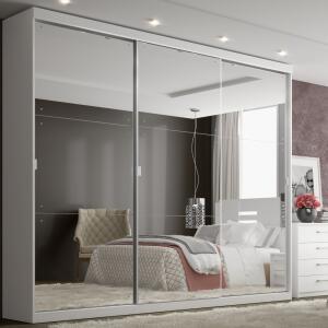 Guarda-Roupa Casal THB Mirage Glass 3 Portas de Correr e 4 Gavetas - Branco R$1350