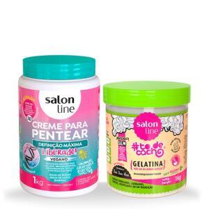 Kit Creme Definição Máxima+Gelatina Não Sai da Minha Cabeça 1kg Salon Line | R$ 37