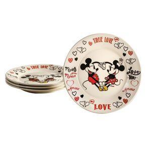 Conjunto 4 Pratos Disney Mickey e Minnie | R$80