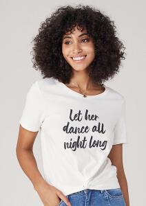 T-shirt Em Malha Com Nó Frontal - Cinza | R$30