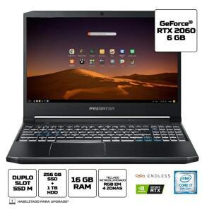 [R$6.922,97 AME + CC Sub] Notebook Gamer Predator PH315-52-79VM Intel Core i7 16GB 256GB SDD 1TB HD RTX 2060 15,6 Linux