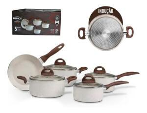 Jogo Panelas 5pçs Indução Ceramic Life Granada Brinox | R$400