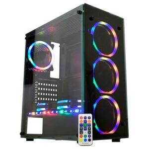 Gabinete Gamer K-mex Atlantis Sync - Vidro Temp., Cover PSU, 3 fans ARGB | R$350