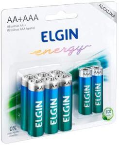 [PRIME] Kit Econômico de Pilhas Alcalinas com 6X AA e 2X AAA, Elgin, Baterias | R$ 13