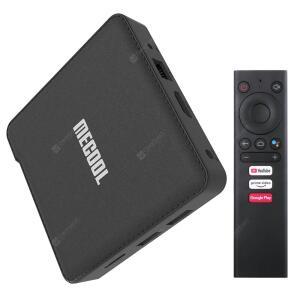 MECOOL KM1 DELUXE ATV Smart Voice Remote TV Box Support Google Assistant - Black 4GB RAM+32GB ROM EU Plug