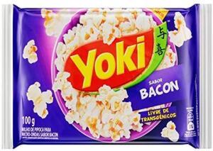 Popcorn Micro Bacon Yoki 100g 5 unidades R$1,25 cada
