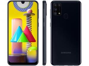 """[Cliente ouro] Smartphone Samsung Galaxy M31 128GB Preto 4G - 6GB RAM Tela 6,4"""" Câm. Quádrupla - R$1437"""