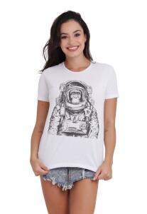 Camiseta Básica Space Chimp Branca | R$25