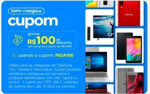 [PEGA100] R$100 off nas compras a partir de R$1.000 | Produtos selecionados: TVS | Telefonia (Smartphones) | Informática | Tablet