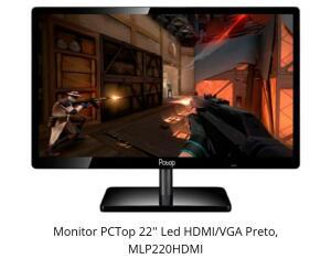 MONITOR PCTOP 22'' LED HDMI/VGA PRETO, MLP220HDMI