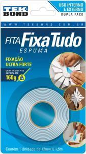 (PRIME) Tekbond 70852 Fita Fixa Tudo Espuma, 12mm x 1.5 m, Branco | R$ 5,37