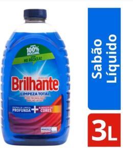 [ APP + R$4 de Volta] Sabão Líquido Brilhante Limpeza Total - 3L | R$19