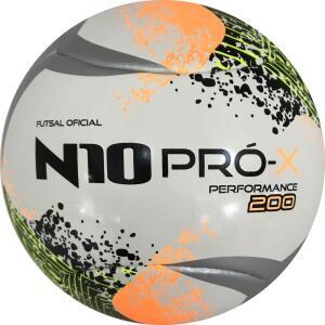 Bola de Futsal N10 Pro-X Performance 200, Pretto/Laranja/Amarelo Fluor | R$67