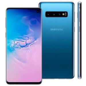 Smartphone Samsung Galaxy S10 Azul 128GB, 8GB RAM em 1X no cartão. - R$2399