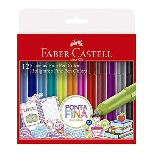 Caneta Ponta Fina, Faber-Castell, Fine Pen Colors, FPB/ES1ZF, 12 Cores | R$30