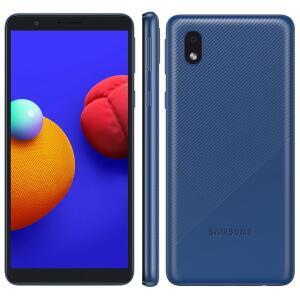 "Samsung Galaxy A01 Core 32GB Tela 5.3"" Câmera Traseira 8MP Android GO 10.0 Dual Chip - Azul   R$649"