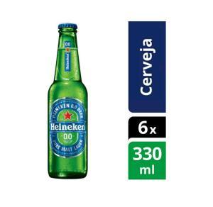 [R$ 3,57 Unid.] Cerveja Heineken 0.0 Pilsen Lager sem Álcool - 6 Unidades 330ml | R$ 28