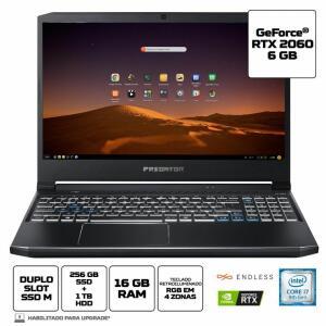 Notebook Gamer Predator Helios 300 PH315-52-79VM Intel Core i7 16GB 256GB SDD 1TB HD RTX 2060 - R$7635