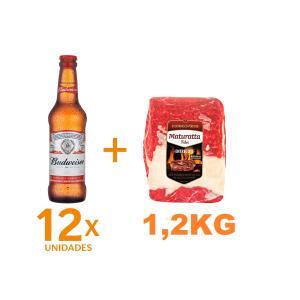 Kit 12 Cervejas BUDWEISER Garrafa 330ml + Entrecote Filé Costela Bovino Maturatta Friboi 1,2kg | R$70