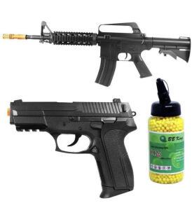 Kit Rifle Airsoft M16RIS + Pistola Airsoft S2022 + 2000 BBs   R$425