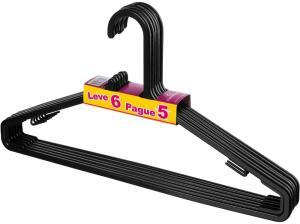 [PRIME] R$8 Sanremo Cabide de Plástico Preto 6 unidades