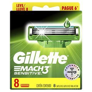 [1a Compra APP] Carga para Aparelho de Barbear Gillette Mach3 Sensitive Leve 8 Pague 6 | R$26