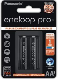 Pilhas Eneloop Pro Panasonic - 02 Pilhas Aa2- 2550mah   R$75