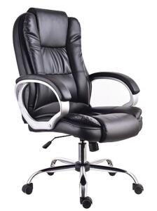 Cadeira Presidente Poltrona para Escritório Giratória Couro com Braço Cromada Trato