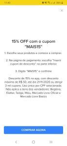 Cupom de 15% off no MercadoLivre