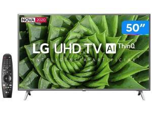 "Smart TV UHD 4K LED 50"" LG 50UN8000PSD Wi-Fi-Bluetooth HDR Inteligência Artificial 4 HDMI 2 USB R$2104"