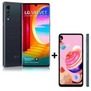 "Kit Smartphone LG Velvet Tela 6.8"" 128GB Cinza + Smartphone LG K51S Tela 6.5"" 64GB   R$3134"