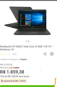 "Notebook HP 246G7 Intel Core i3 4GB 1TB 14"" - Windows 10 - R$1759"
