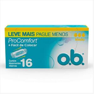 Absorvente Interno Médio Pro Comfort, O.B., 16 Unidades | R$ 8