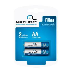Multilaser Pilha Recarregável AA - Pack c/ 2 - CB053 R$23