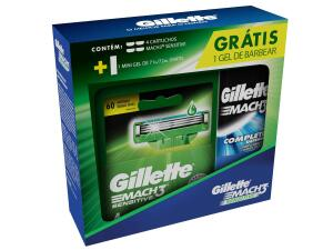 (Dinheiro de volta Gillette)Carga Gillette Mach3 Sensitive Com 4 Unidades Grátis Gel De Barbear 71g | R$28
