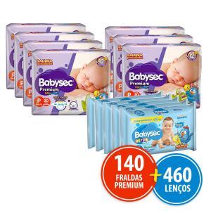 Kit 140 Fraldas Babysec Premium P + 460 Lenços Umedecidos   R$ 110