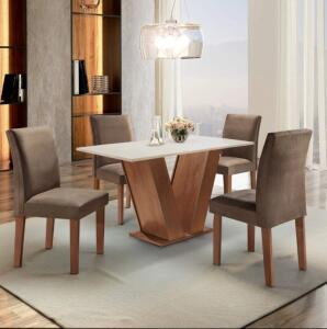 Conjunto Sala de Jantar Mesa Tampo MDF 4 Cadeiras Espanha Espresso Móveis Chocolate/Suede Marrom R$549