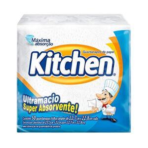 [6un - 0,89 cada] Guardanapos de papel Kitchen Folha Simples, 50 unidades de 22,27x22,8 cm | R$5