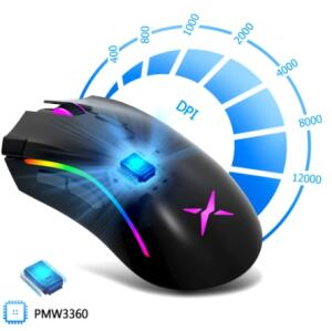 Delux m625 pmw3050 gaming mouse 12000dpi 7 botões programáveis   R$96