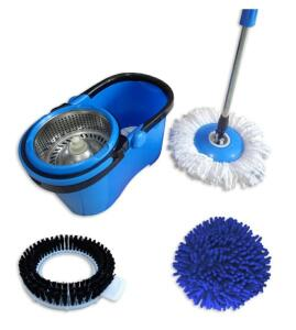 Balde Mop esfregão com cesto inox e cabo 1.60 vem com 3 refil microfibra limpeza pesada e pó. | R$87