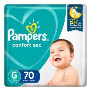 Fralda Pampers Confort Sec G 70 Unidades | 3 pacotes | R$35 cada