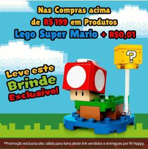 Nas compras acima de R$199 em produtos Lego Super Mario +R$0,01 ganhe um brinde