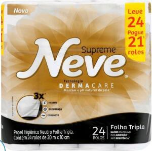 Papel higiênico folha tripla Neve Supreme 24 rolos - 20cm | R$24
