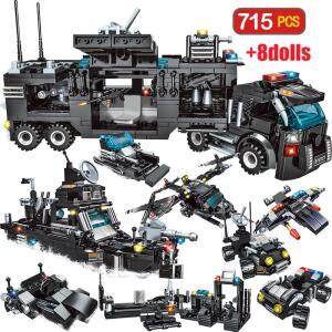 Blocos de construção cidade policial - 715 peças e 8 bonecos | R$ 121