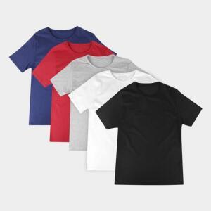 Kit Camiseta Básica c/ 5 Peças Masculina | R$66