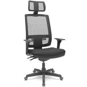 [CC Shoptime] Cadeira Presidente Brizza Apoio Cabeça Braço 3D assento couro - Plaxmetal