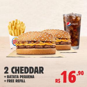 2 CHEDDAR + BATATA + FREE REFIL