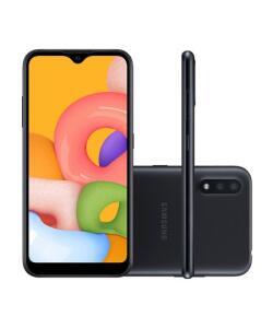 Smartphone Samsung Galaxy A01 32GB Preto Octa-core - 2GB RAM   R$669