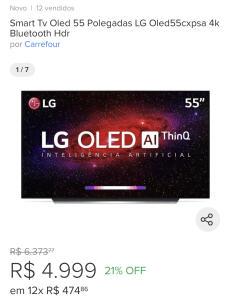 Smart Tv Oled 55 Polegadas LG Oled55cxpsa 4k Bluetooth Hdr | R$ 4999